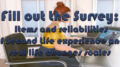 Survey: Items and reliabilities of Second Life experience and real life changes scales